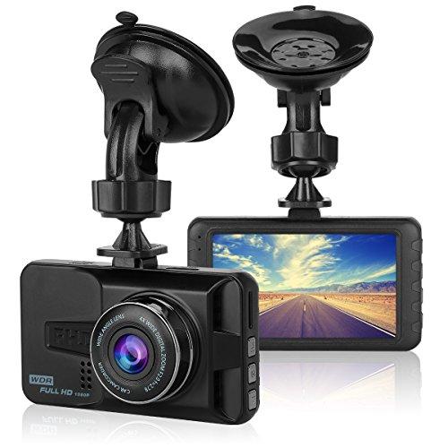 ULU 1080P Dash Cam Front + VGA Rear 290° Super Wide Angle Car DVR Dashboard Camera Recorder with 3 Inch Screen, G-Sensor, WDR, Night Vision, Loop Recording, Motion Detection, Car Black Box