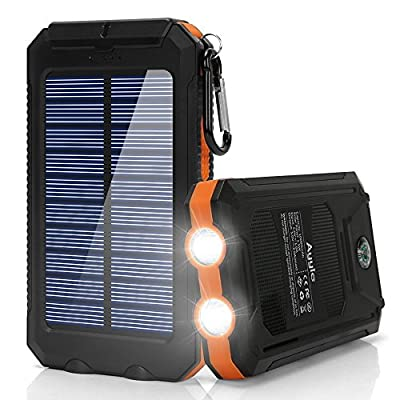 Solar Charger,10000mAh Solar Power Bank Portable External Backup Battery Pack Dual USB Solar Phone Charger with 2LED Light Carabiner and Compass for Your Smartphones