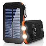 Ayyie Solar Charger, Portable Solar Power Bank, External Solar Panel Battery Pack Phone Charger with Dual USB and LED Flashlights for iPhone 8/8 Plus, Samsung S8/Note 8 and More