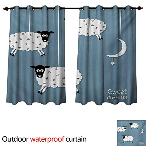 Hanging Estrella Outdoor (WilliamsDecor Sweet Dreams Home Patio Outdoor Curtain Hanging Sheep Star and Crescent Moon Sleeping Themed Illustration W55 x L45(140cm x 115cm))