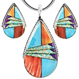 """Matching Set Turquoise & Gemstones 925 Sterling Silver (Pendant, Earrings, Necklace 20"""")"""