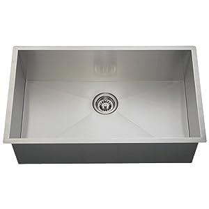 3322S 16-Gauge Undermount 90° Rectangular Single Bowl Stainless Steel Kitchen Sink
