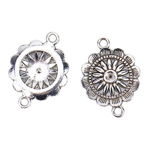 (Monrocco 50 Pieces Antique Silver Sunflower Charms Flower Connector Pendants Beads Charms Pendants for Jewelry Making DIY Necklace Bracelet)