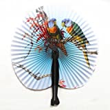 ZX101 3Pcs Foldable Chinese Oriental Floral Paper Fan Folding Fan Handheld Fan Wedding Table Favors