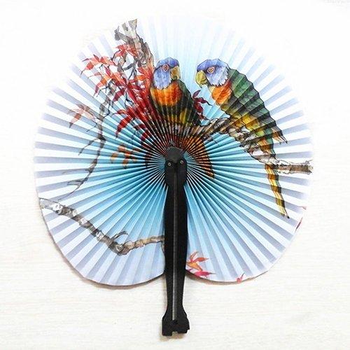 ZX101 3Pcs Foldable Chinese Oriental Floral Paper Fan Folding Fan Handheld Fan Wedding Table Favors