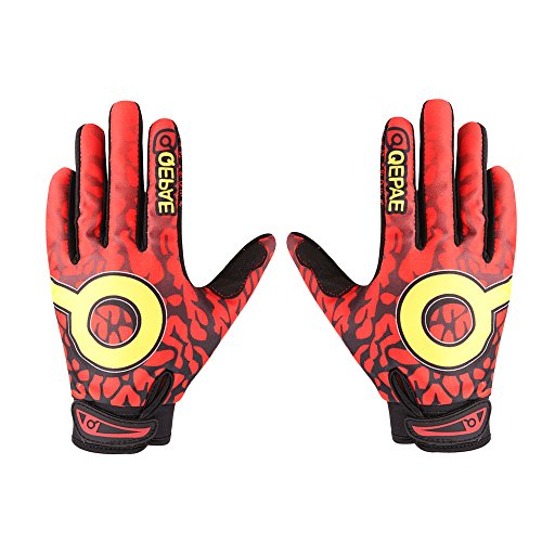 Bicycle Gloves Bike Gloves Mountain Cycling Gloves Full Finger Cycle Gloves Padded Silica Gel Grip Anti-slip, Motorcycle Biking Road Racing Riding Motorcross MTB BMX Sports Gloves. (XL Size, Red)