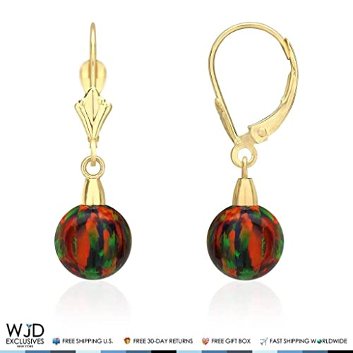 14K White Gold 10 mm Ball Shaped Orange Fire Opal Leverback Dangle Earrings