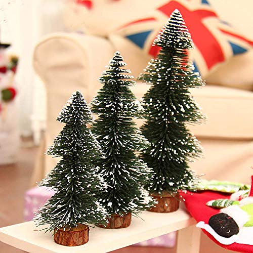 Highpot Mini Christmas Tree Green Sisal Snow Frost Trees Bottle Brush Trees Tabletop Christmas Trees for DIY Room Decor Table Top Decoration (7.9 inches) by Highpot (Image #3)