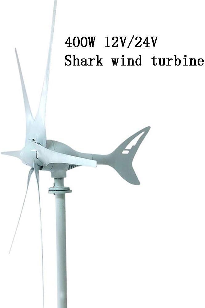 LiRongPing Aerogenerador Shark con 6 Palas, Eje Horizontal de 400W, DC 12V / 24V complementario de Viento y luz, monitoreo, ingeniería, hogar. para reposición de energía (Blanco)