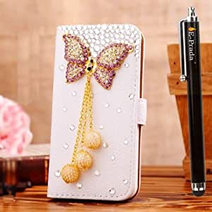 E-Prada HTC One 2 M8 HTC One+ Jewelry Bling Diamond Gem Magnetic Flip Cards Slots Stand Leather Case Cover - There Chain Butterfly by supermalls