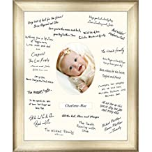 Large 50x40cm Christening Guest Signing Board Antique Silver Frame