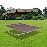 Tidyard 2-Persons Double Loungebed with Canopy, Sun Bed with 2 Pillows Outdoor Garden