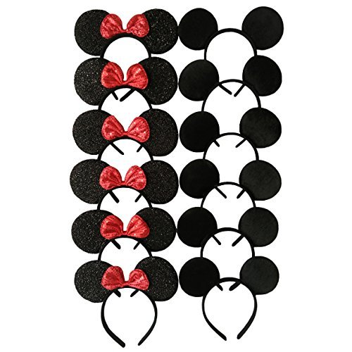 Mickey Mouse Ears Solid Black and Bow Minnie Headband for Boys and Girls Birthday Party or Celebrations (Set of 18) Curl Mickey Mouse