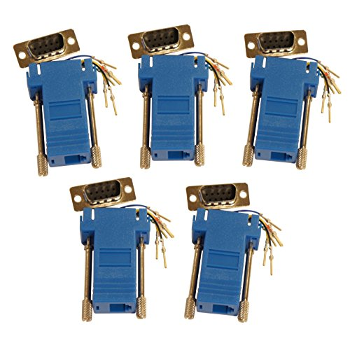 Rj11 To Db9 ((5) Pack of Blue DSub 9 Pin DB9 Male to RJ12 6p6c Modular Adapter Connector Jack Serial)