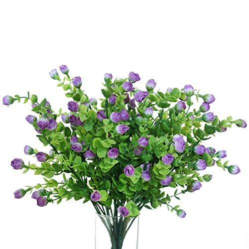 ificial Plants Eucalyptus Leaves with flowers Fake Plants for decoration Wedding flowers favors (4, Lavender) (Eucalyptus Lavender Bouquet)