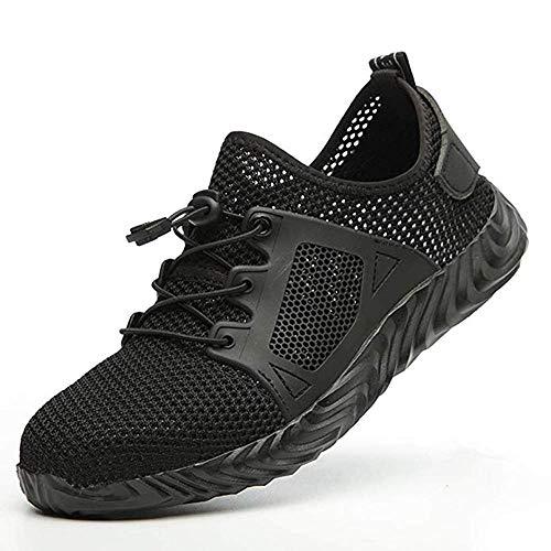 KINGLEN Safety Work Steel Toe Shoes,Breathable Lightweight Casual Athletic Industrial & Construction Mesh Slip Resistant Composite Sneakers (12.5 Women / 10 Men, Black)