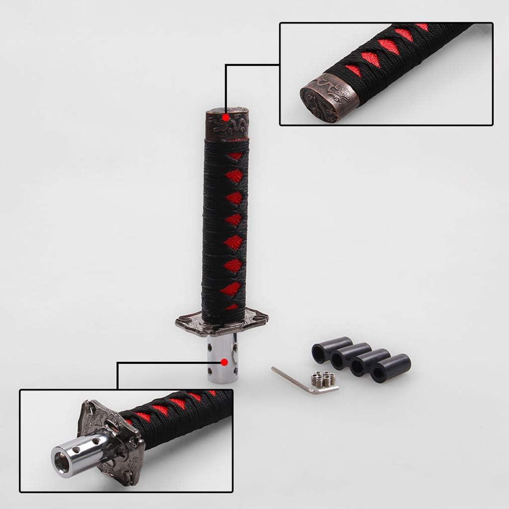 Xuniu Universal Auto Schaltknauf Katana Metal Weighted Sport Shifter 4 Adapter Schwarz mit Rot