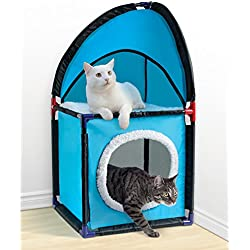 Two Tier, Durable, And Easy To Assemble Cat Corner Tower, Blue