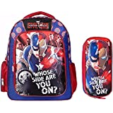 Superhero 3D Captain America Iron Man School Backpack with Pencil Case Set,16.5 Inch, Waterproof Bookbag for Kids Age 7 to 12 Years Old (Civil War)