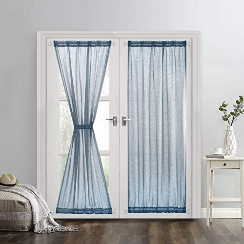 Dreaming Casa Sheer French Door Curtains Linen Textured Two Panels Rod Pocket 72 inches Long Curtains,2 Panels, Teal,52''W x 72''L by Dreaming Casa