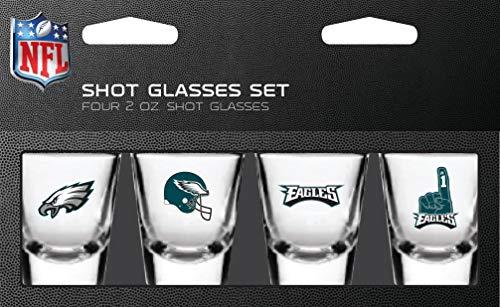 NFL Philadelphia Eagles Shot Glass Set4 Pack Shot Glass Set, Team Colors, One Size