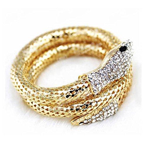 Multi Strand Snake - SWYSS Punk Rhinestone Bangle Curved Stretch Diamond multi-strand Snake Bracelet Chic Charm Hand Chain (Gold)