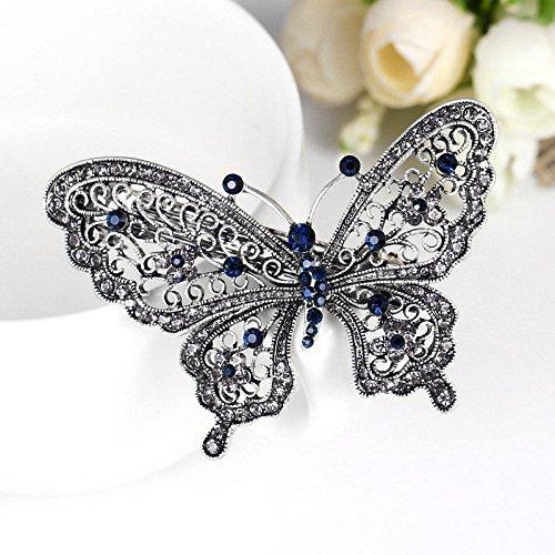 Sapphire Mushroom - New Crystal Rhinestone Butterfly Wedding Bridal Hair Comb Hairpin Clip Barrette.