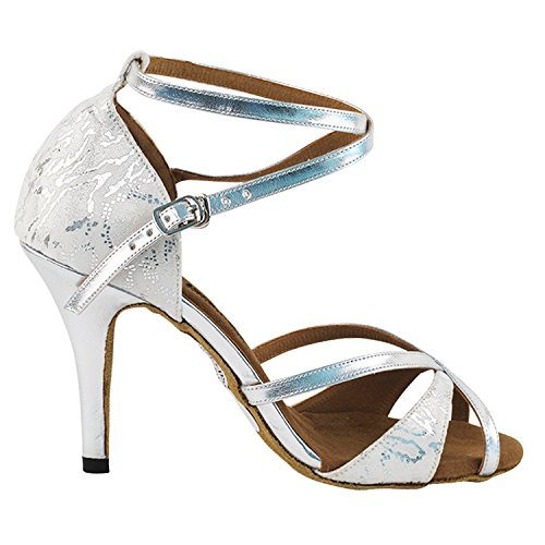 Party Party 2829ledss Comfort Sandalo Sera Dress Sandali, Scarpe Da Ballo Da Ballo Donna (tacchi Alti 2,75, 3 E 3,5) 2829- Bianco E Argento