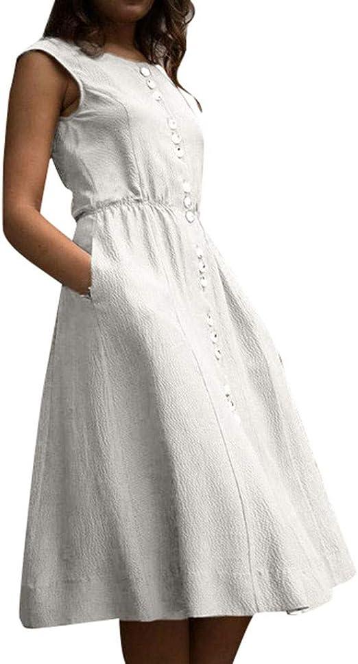 Vestidos Mujer Algodón Verano,Vestidos de Playa sin Mangas Falda Largo Sexy Elegante y Comodo Dress para Playa Casual Caminar Diario Compras: Amazon.es: Productos para mascotas