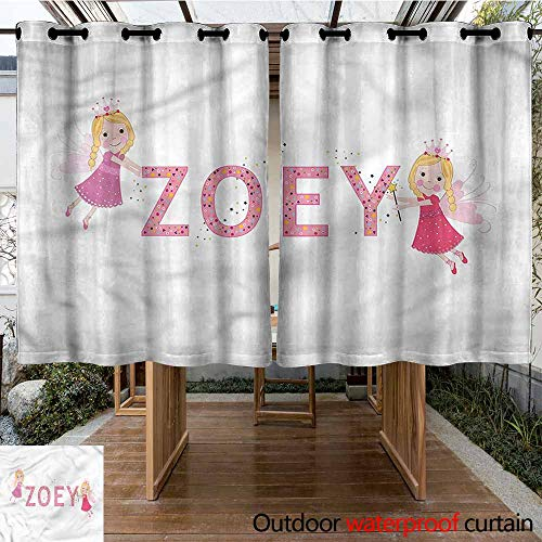 Sunnyhome Outdoor Curtain Panel for Patio Zoey Feminine Baby Girl Name for Porch&Beach&Patio W 55