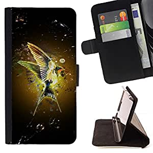 For HTC Desire 626 & 626s - Hummingbird Nature Yellow Wings Flight /Leather Foilo Wallet Cover Case with Magnetic Closure/ - Super Marley Shop -
