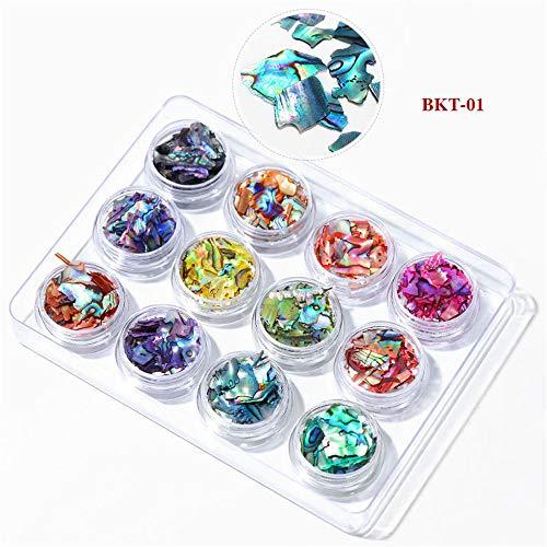 - 12 Boxes/set Nail Art Abalone Shell Irregular Fragment 3D Charm Decoration Slice DIY Beauty Nail Decals For UV Gel Acrylic Nails