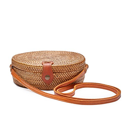 Dr.Craft Handwoven Round Bali Ata Rattan Bag for Women, Crossbody, Plain Weave, Real Leather, Double Lining
