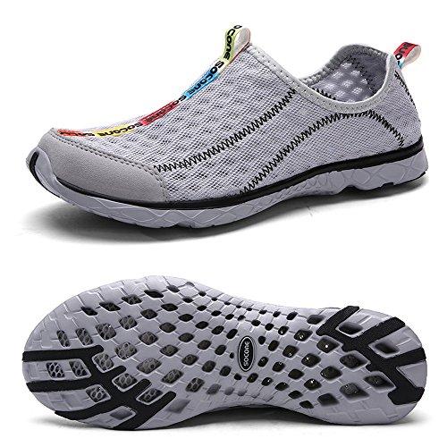Mxson Men's Slip On Sneaker Mesh Casual Sports Walking Beach Aqua Swimming Pool Water Shoes, Grey, 9.5 D (M) US
