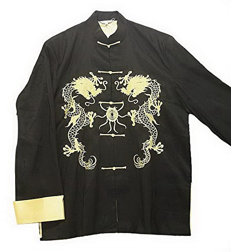 THY COLLECTIBLES Traditional Chinese Embroidered Silk Kung-Fu Tang Jacket Coat Tai Chi Uniform Double Dragon (Black, Asian XXL = US XL) by THY COLLECTIBLES