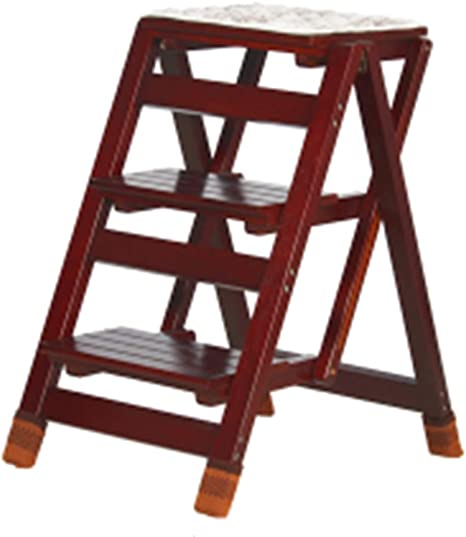 FOKN-ladder Escalera Plegable Multifuncional Madera Maciza 2/3 Pasos Balcon Hogar Bajo Techo Doble Uso Portátil Taburete Color Múltiple,Alto 47 / 65CM,Blackwalnut-3steps: Amazon.es: Hogar