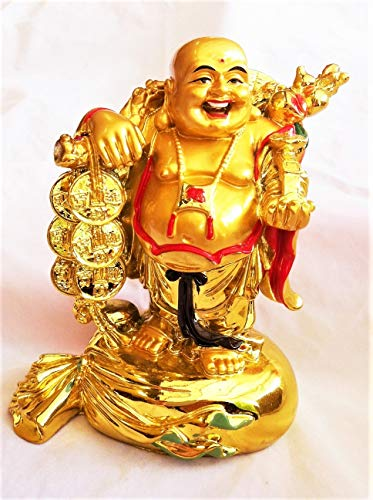 (Fengshui Laughing Buddha Statues Figurines Sculptures Carrying Money Bag God of Wealth Statue Home Decor, Lucky & Happiness,Housewarming Congratulatory Gifts)
