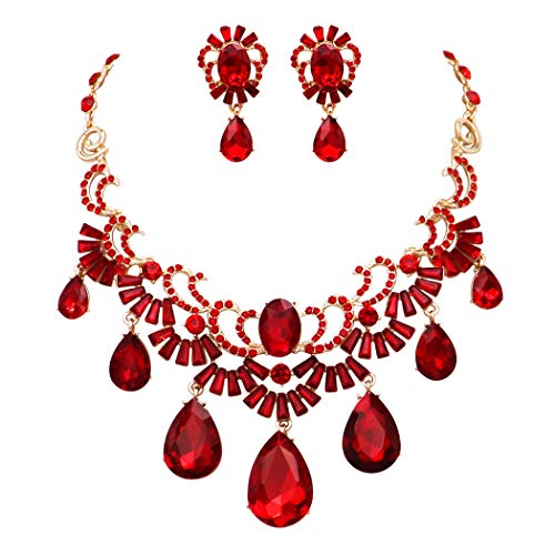 - Rosemarie Collections Women's Art Deco Crystal Teardrop Collar Necklace Statement Jewelry Set (Red/Gold Tone)