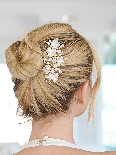 Mariell Couture Bridal Hair Comb with Hand Painted Gold Leaves, Freshwater Pearls and Crystals by Mariell (Image #2)
