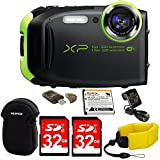 Fujifilm FinePix XP90 Shock & Waterproof Wi-Fi Digital Camera (Lime Green) in White Promo Packaging (Non-Retail) w/64GB Card+Battery & Charger+Memory Card Reader+Neoprene Case+Floating Strap+MORE