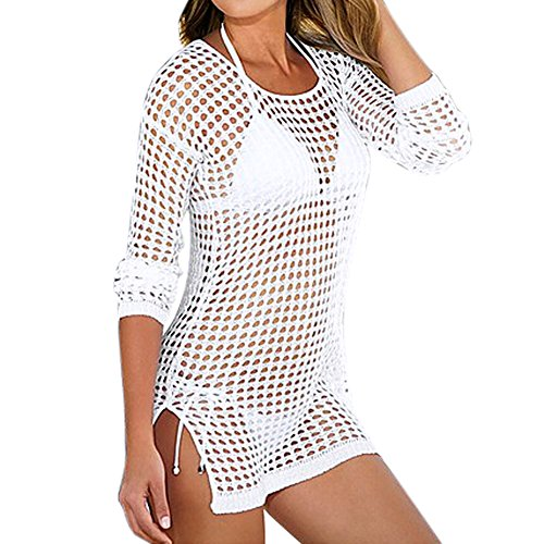 Diamondo Women Sexy Beach Shirt Long Sleeve Bikini Cover Up Hollow Swimwear (White, Asian L) (Asian Women Sexy)