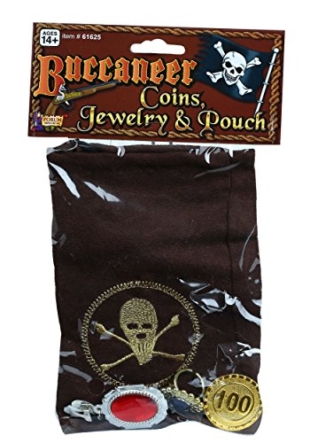 Costumes Marauder Pirate (Forum Novelties Buccaneer Drawstring Coin Pouch with Jewelry and Coins,)