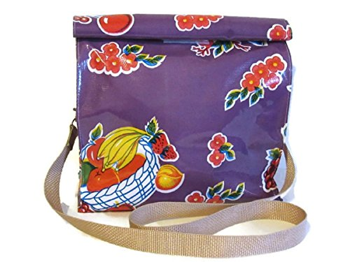 Oilcloth Lunch Snack Bag Purple Fruit and Shoulder Strap