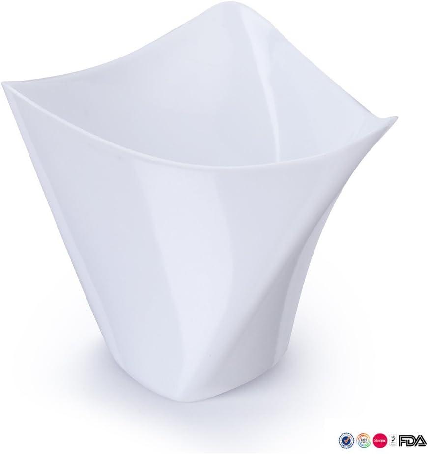 elegantes Design 118 ml quadratische Kunststoffschale Fassungsverm/ögen ca Einweg Satz mit 25 St/ück Schwarz Mini-Dessertbecher