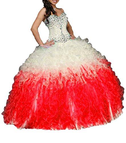 Organza Robe De Bal De Perles Chérie De Volants De Femmes Dkbridal Lacer Robes Dos Quinceanera Rouge