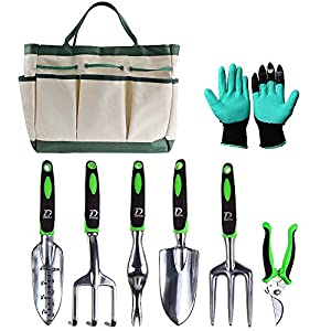 D DUSSAL 8PCS Garden Tool Set Durable Hand Garden Tool Kit with Large Storage Tote Bag for Man and Woman