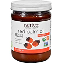 Nutiva Organic Red Palm Oil, (Nutrient-dense Culinary Oil), Buy SIX Jars and Save per Unit Cost, Each Glass Jar is 15 oz (Pack of 6)