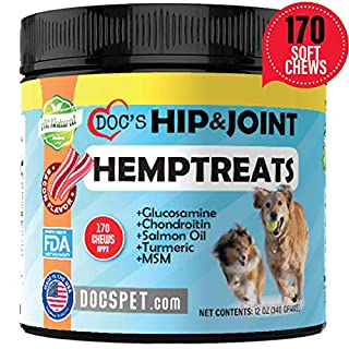 Doc's Pet Hemp Oil Dog Hip & Joint Soft Chew Supplements- Glucosamine for Dogs - Chondroitin - MSM - Turmeric - Salmon Oil -Pain Relief Chews - Made in USA