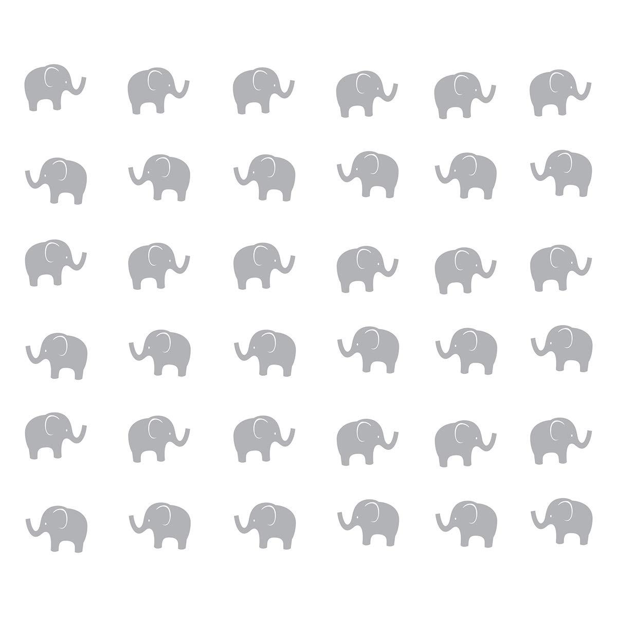 JUEKUI Set of 48pcs Baby Elephant Wall Decals Woodland Elephant Wall Decor Stickers for Kids Bedroom Nursery Decor Removable Vinyl WS15 (Gray)