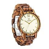 Men's Zebra Wood Watch,UWOOD Business Casual Golden Luxury Style Natural handcraft Wood Grain Wrist Watch Men Boys Big size